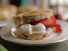 Strawberry and Rhubarb Shortcakes Recipe | Damaris Phillips | Food Network