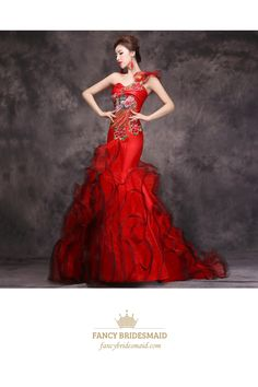 One Shoulder Red Embroidered Mermaid Ball Gown Prom Dress With Ruffle Bottom | Fancy Bridesmaid Dresses