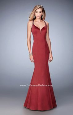 La Femme 22135 Beautiful stretch satin mermaid gown with a plunging neckline and strappy back. The straps are embellished with glistening rhinestones and Senior Prom Dresses, Prom Dresses 2017, Short Dresses, Formal Dresses, Long Mermaid Dress, Mermaid Prom Dresses, Sherri Hill, Designer Dresses, Fashion Designer