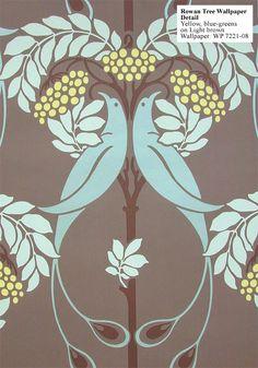 Rowan tree wallpaper design originally created by English architect C.F.A. Voysey circa 1900.