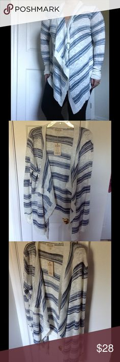 Tiered Open Striped Cardigan Lightweight and fun to move in Pink Rose Sweaters Cardigans