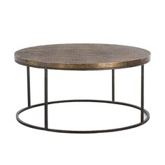 arteriors 6175 Nixon Coffee Table Round Dia 38 H 18.5 Iron Base Antique Brass Clad top $2000 #Cocktail #3Foot