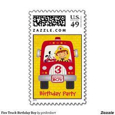 Fire Truck Birthday Boy Stamps / fireman, dalmation