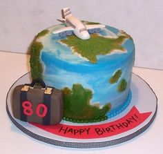 This cake was made for an octogenarian who loves to travel. Cake Cookies, Cupcake Cakes, Cupcakes, Beautiful Cakes, Amazing Cakes, Luggage Cake, Earth Cake, Travel Cake, Adult Birthday Cakes