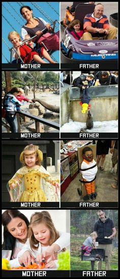 In honor of Father's Day, here are some Mother vs Father pics that I found for your viewing pleasure. Life would sure be dull without our dads! Thanks dads! Videos Funny, Funny Memes, Hilarious, Jokes, Funny Qoutes, Funny Facts, Parenting Humor Teenagers, Parenting Memes, Friday Humor