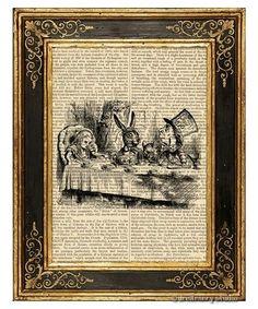 Alice in Wonderland Art Print on Antique Book Page Vintage Illust Mad Tea Party   eBay