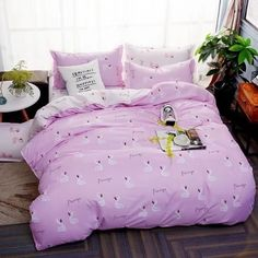 High Quality Microfiber Duvet Cover, Pink Bedding with Flamingo and Letters, Comfortable and Hypoallergenic, The Best Bedroom Decor Striped Bedding, Pink Bedding, Luxury Bedding, Comforter, King Size Bedding Sets, Duvet Sets, Duvet Cover Sets, Childrens Bed Linen, Bed Linen Design