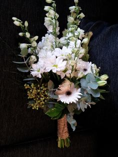 Facing Sheaf Style Wedding Bouquet tied up with Natural Jute - Charming and Sweet.