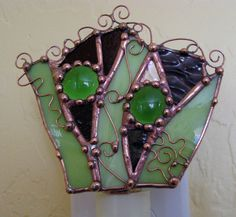Stained Glass night light abstract mixed media art functional lime green purple nightlight handmade. $34.00, via Etsy.