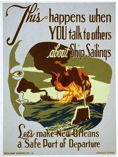 WW2 Propaganda - New Orleans Loose Lips Poster