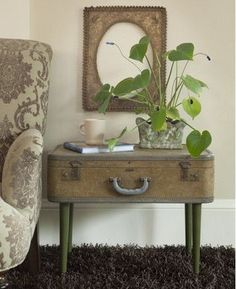 Suitcase becomes end table with storage