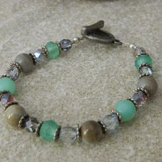 Ceramic Earth and Green Opaque Bracelet by WireNWhimsy on Etsy