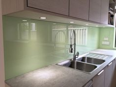 Looking for green glass splashback installation? Perth Splashback offers various shades of green splashbacks for your kitchen and bathroom. Kitchen Colour Schemes, Kitchen Colors, Kitchen Layout, Kitchen Design, Glass Kitchen, Green Kitchen, Kitchen Backsplash, Kitchen Splashback Panels, Panel W
