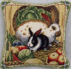 Rabbit with Vegetables Needlepoint Decorative Pillow