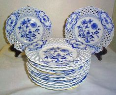 Blue Onion | Blue onion Meissen reticulated plates