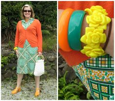 Vintage Lady Lichfield (Made in New Zealand) polyester sun dress worn with thrifted cardigan, bag and bangles.  Shoes retail.