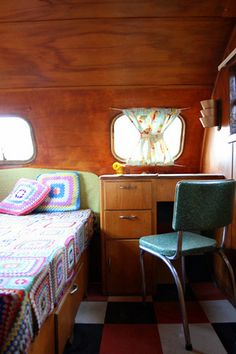 Camper with sit down desk, cute!