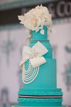 Gorgeous cake from Breakfast at Tiffany's Inspired Birthday Party at Kara's Party Ideas. See more at karaspartyideas.com!
