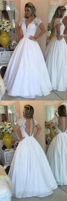 Princess White Prom Dresses,V-neck Long Formal Dresses,Chiffon Lace Evening Dresses,Short Sleeve Party Gowns