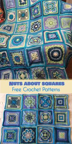 Nuts about squares free crochet pattern; best for afghan and blankets - multi stitch scrap sampler afghanNuts about Squares in a blanket made from 35 unique squares. The squares for this blanket were designed by 11 designers.How to Crochet a Solid Granny Crochet Quilt, Crochet Blocks, Crochet Motif, Crochet Yarn, Crochet Stitches, Free Crochet, Cross Stitches, Granny Square Crochet Pattern, Afghan Crochet Patterns