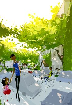 Spring Morning by Pascal Campion (Love the look of the trees dappled with sunlight)