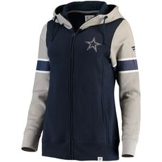 NFL Pro Line by Fanatics Branded Dallas Cowboys Women's Navy/Heathered Gray Iconic Fleece Full-Zip Hoodie