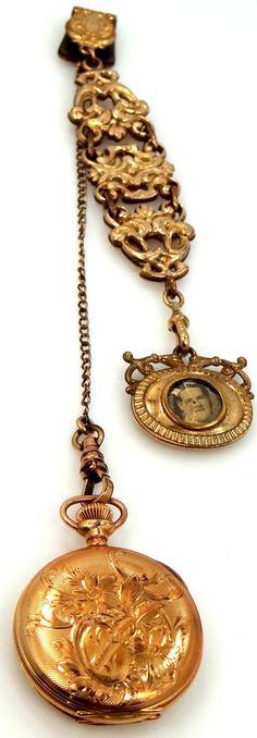 Hampden Molly Stark Pocket Watch on Bigney Watch Chain & Fob