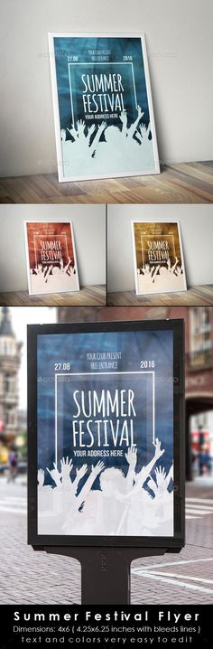 Summer Party / Concert Music Poster Template Perfect for Summer party, gig, concert, summer festival, beach party, bright party, dance party, dj set or karaoke party ; all creative and bright club party art festival, exhibition poster, photo art festival, photo exhibition, artistic party, creative concert presentation, dj set, party or weekly event in a music club and other kind of special evenings.