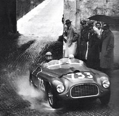 Dorino Serafini and Ettore Salani en route to second place at the 1950 Mille Miglia, in Ferrari 195 S Touring Barchetta Sports Car Racing, Racing Team, Road Racing, Race Cars, Auto Racing, Maserati, Nascar, Ferrari F12berlinetta, Ferrari Racing
