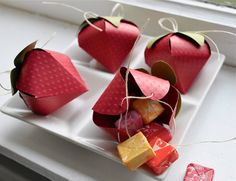 Strawberry shaped favor boxes
