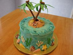 island palms - buttercream/cream cheese frosting with sand made of crushed vanilla wafers and graham crackers.  palm trees are thick pretzels with fondant palms.  seashells are melted chocolate in shell molds. Palm Tree Cakes, Palm Trees, Wave Cake, Beach Cakes, Luau Theme, Cream Cheese Frosting, Cake Creations, Birthday Cake, Birthday Ideas