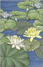 free stained glass pattern of lotus | stained glass lotus pond