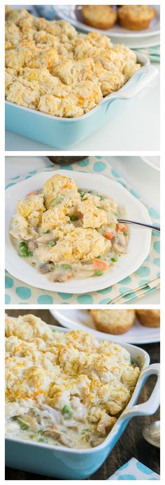 Chicken Cobbler - this Chicken Cobbler from Paula Deen is one of my favorite chicken casseroles to make. It is basically a chicken pot pie with a thick layer of soft, pillowy, cheesy biscuits on top.
