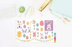 Easter Bunnies, Eggs and Cute Flowers Planner Stickers by TheCleverDesign on Etsy