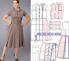 Passo a passo molde de vestido evasê para meia estação. A modelação deste vestido exige algum conhecimento.