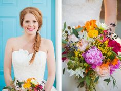 Stunning fishtail braid and colorful pink and yellow wedding bouquet.  Great for spring or summer!  See more of this styled shoot at http://blog.myweddingreceptionideas.com/2014/08/glittery-pink-yellow-and-blue-styled.html  #mwri #wedding #inspiration #hair