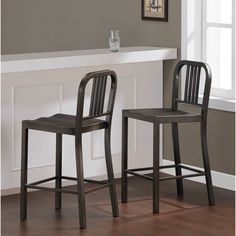 These durable 100-percent steel counter-height stools provide years of style and service. The steel stools feature a vintage finish with a comfortable contoured seat and arrive fully assembled, two per carton.