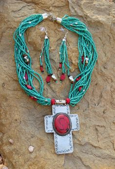 Cowgirl Bling Santa Fe CROSS Turquoise Red Coral Indian style Bead necklace set #tres