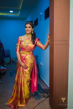 Shopzters 40 Of Our Shopzters Brides Who Wore Exquisite Sarees In 2017 Pattu Sarees Wedding, Wedding Saree Blouse Designs, Wedding Silk Saree, Silk Sarees, Designer Sarees Wedding, Silk Saree Kanchipuram, Pattu Saree Blouse Designs, Saris, South Indian Wedding Saree