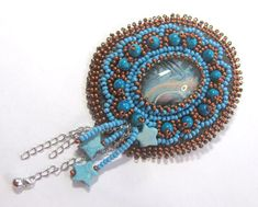 Beading Arts: Turquoise bead embroidered pendant