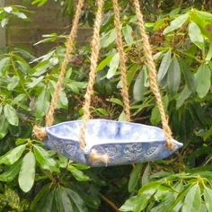 Bird feeder or bath in stoneware-- fully weatherproof potte