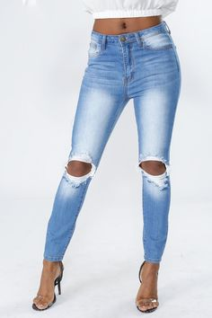 54e6d56567 High rise jeans featuring ripped and distressed detail, 5 pocket  construction, skinny leg fit. KNOWSTYLE