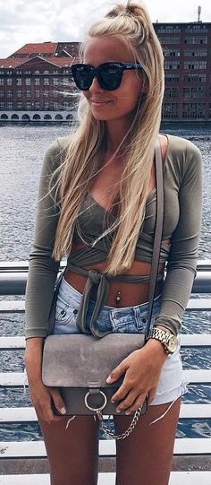 #summer ##flawless #Outfits | Grey Top + Denim