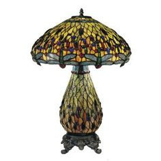 Dale Tiffany 26.5 in. Ridesia Jeweled Dragonfly Antique Brass Table Lamp-TT100273 at The Home Depot