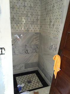Gorgeous Bathroom we are currently working on! Look at the beautiful tiles.
