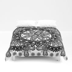 Black and White Chaotic Mandala Pattern Duvet Cover