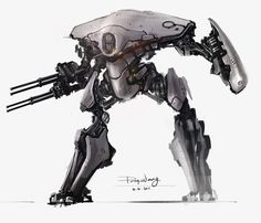 Sentry bot concept in tyrant's dungeon or bounty hunter fortress (still a mech by ProgV on deviantART)