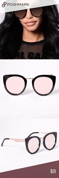 Black/Rose Sunglasses - Brand New, Plastic - Cat Eye Frame - Rand Colored Lens Fashion Nova Accessories Glasses