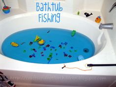 Simple and quick way to make your own bathtub fishing game for kids using magnets. It makes a great boredom buster and learning experience.