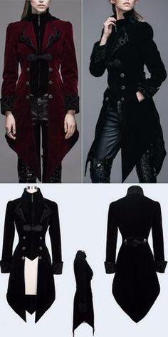 Embroidered Velvet Victorian Coat, Wine Red or Black